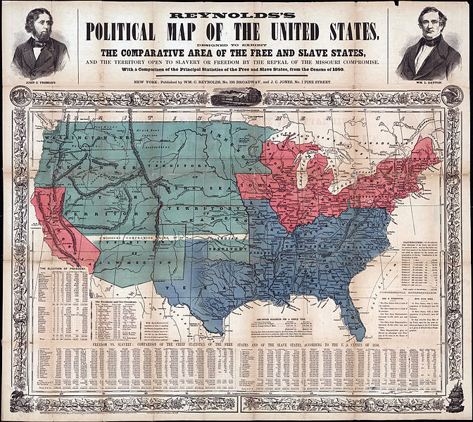 reynold s map of free and slave states in the u s circa 1856