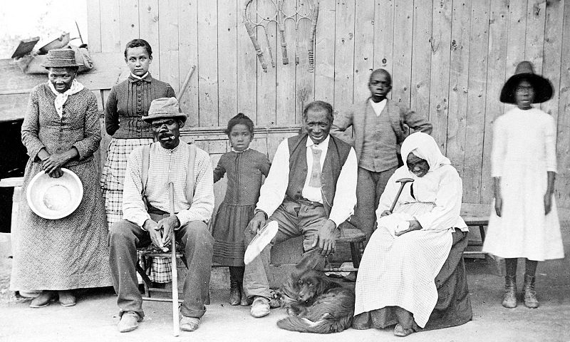 Harriet Tubman (far left) with her second husband and family in 1885