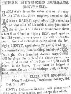 Reward Notice for Harriet Tubman, circa 1849