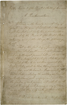 Copy of the Emancipation Proclamation