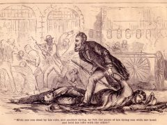 Depiction of John Brown and his dying sons in Harper's Ferry