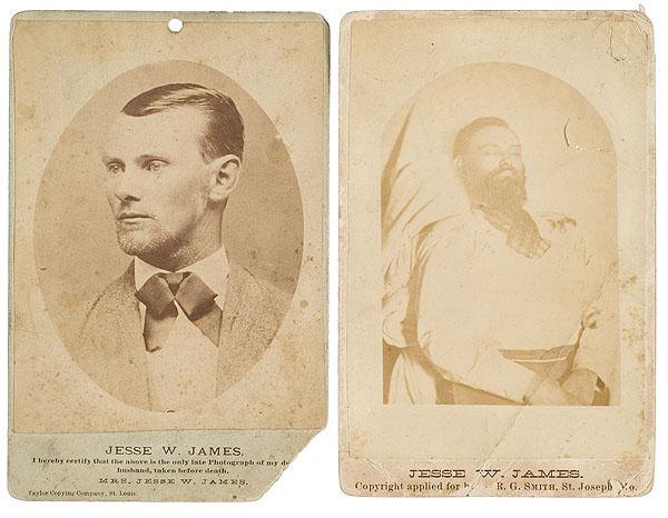 Jesse James post-mortem (right), photo taken by Smith's Studio at Sidenfaden Funeral Home in St. Joseph, Missouri on April 3, 1882