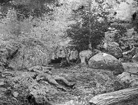 "Dead Confederate soldiers in the ""slaughter pen"" at the foot of Little Round Top"