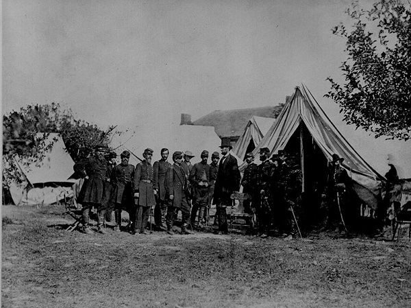 Abraham Lincoln visiting the battlefield at Antietam on October 3, 1862