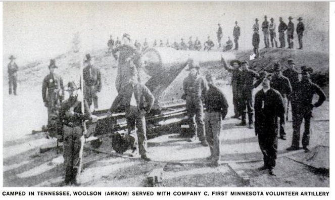 Albert Woolson (arrowed) in Company C of the 1st Minnesota Heavy Artillery Regiment