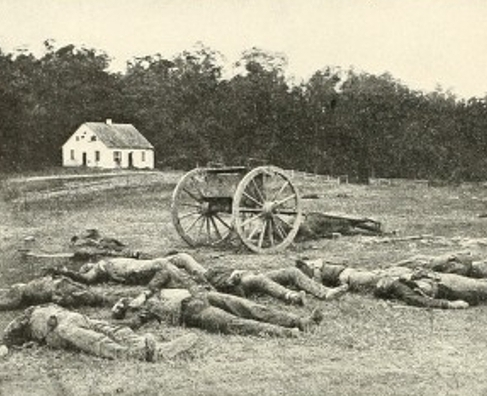 Dead Confederate artillerymen photographed by Alexander Gardner in front of Dunker Church after the Battle of Antietam in Sept of 1862