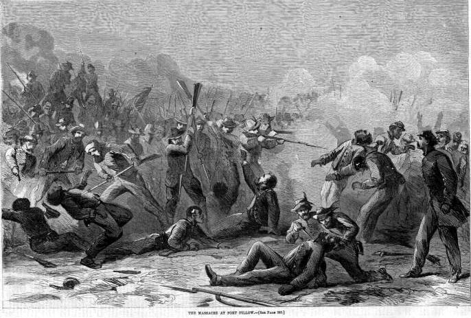 Illustration of the Massacre at Fort Pillow published in Harper's Weekly on April 30, 1864