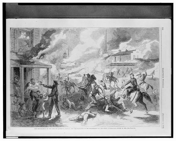 """The Destruction of the City of Lawrence, Kansas and the Massacre of its Inhabitants by the Rebel Guerrillas, August 21, 1863."" Harper's Weekly illustration published September 5, 1863"