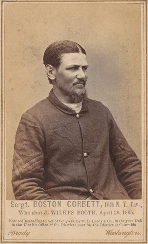 Boston Corbett photographed by Mathew Brady in 1865