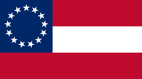 The Stars and Bars, the First National Flag of the Confederate States of America circa November 28, 1861 – May 1, 1863