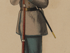 Confederate private infantry uniform, illustration published in the Atlas to Accompany Official Records of Union and Confederate Armies, circa 1895