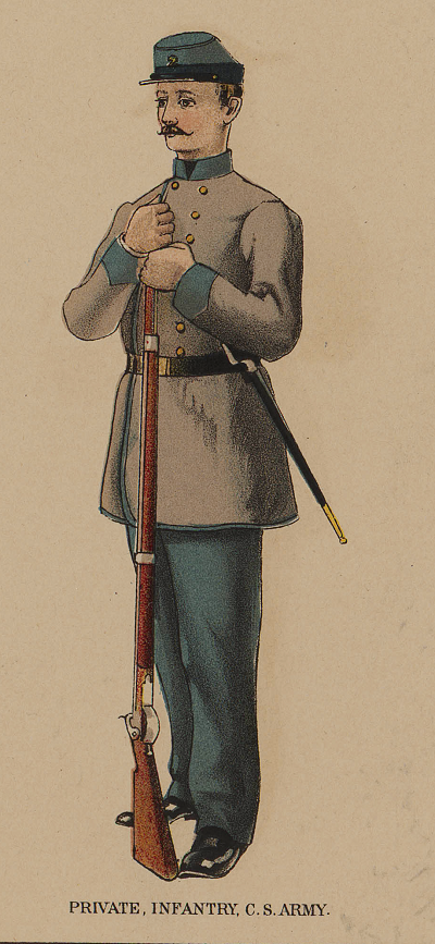Confederate private, illustration published in the Atlas to Accompany Official Records of Union and Confederate Armies, circa 1895