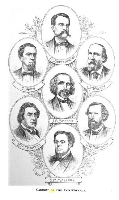 Cabinet of Confederacy, illustration published in Short History of Confederate States of America, circa 1890