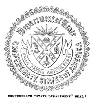Confederate State Department Seal, illustration published in the Pictorial Field Book of the Civil War, Vol 2, circa 1880