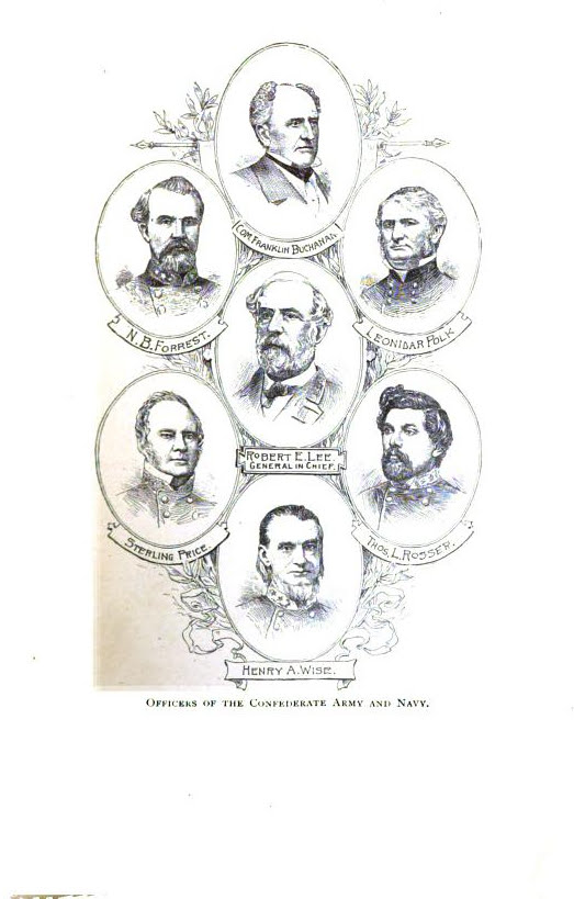 Officers of Confederate Army and Navy, illustration published in the Short History of the Confederate States of America, circa 1890