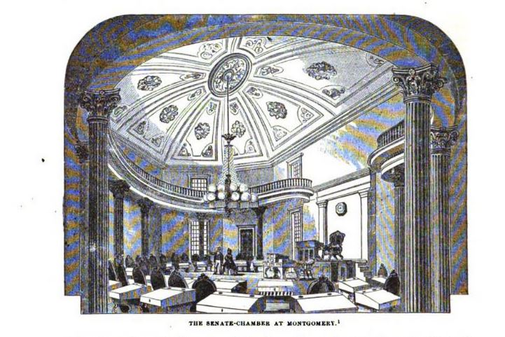 Senate Chamber at Montgomery, illustration published in the Pictorial Field Book of Civil War in United States, Vol 2, circa 1880