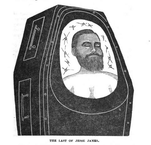 Jesse James in his coffin, illustration published in The Outlaws of the Border, circa 1882