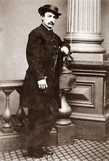 John Wilkes Booth photographed by J.A. Keenan of Philadelphia in 1865