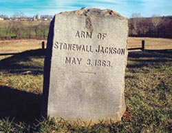 Stonewall Jackson: Grave of amputated arm