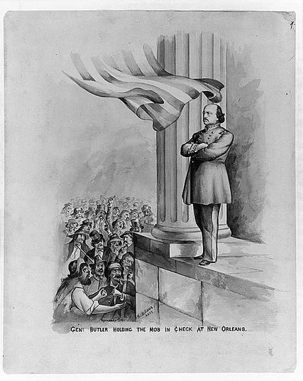 Illustration of General Butler holding the mob in check at New Orleans