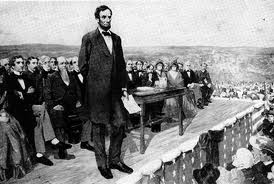 Illustration of Abe Lincoln gving the Gettysburg Address