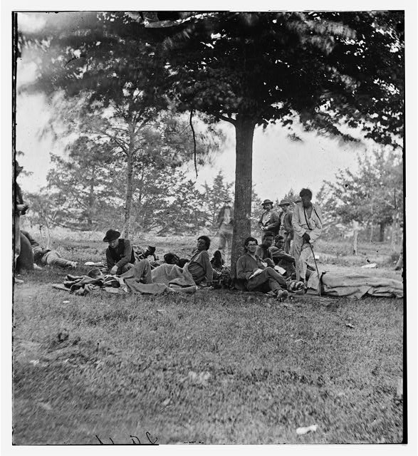Wounded Indians after the battle of the Wilderness at Marye's Heights in Fredericksburg, Virginia on May 1864