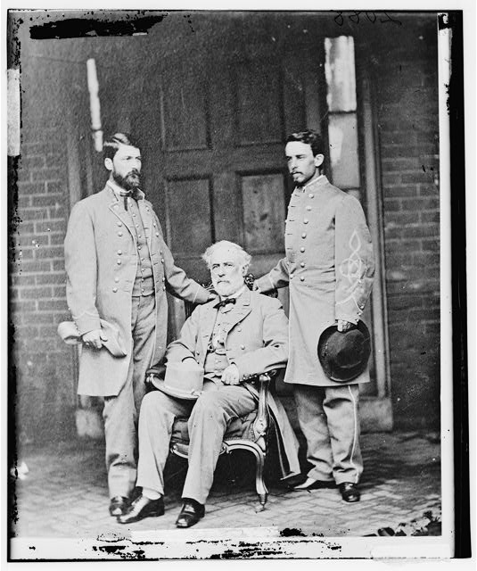 Robert E. Lee with G.W.C. Lee and Walter Taylor, photographed by Mathew Brady, circa April 1865