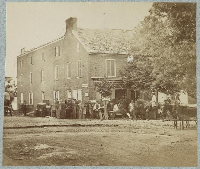 Headquarters of the Sanitary Commission, Gettysburg, PA photographed by Alexander Gardner in 1863