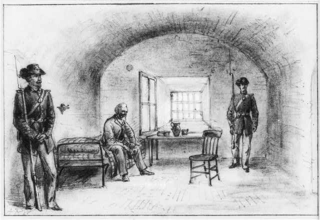 Jefferson Davis, imprisoned at Fort Monroe, illustration, circa 1865