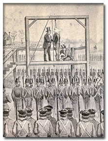 Illustration of John Brown\'s hanging circa 1859