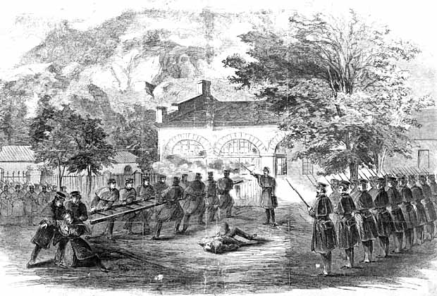 Illustration of Harper\'s Ferry Raid circa 1859