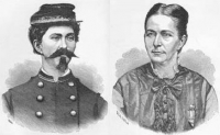 "Illustration of Loreta Janeta Velazquez as a woman (right) and a man (left) published in ""The Woman in Battle"" in 1876"