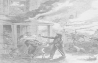 "Lawrence Massacre, ""The Destruction of the City of Lawrence, Kansas and the Massacre of its Inhabitants by the Rebel Guerrillas, August 21, 1863."" Harper's Weekly illustration published September 5, 1863"