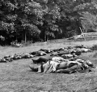 Bodies of Confederate soldiers, killed on July 1, collected near the McPherson woods at Gettysburg, photographed by Timothy O'Sullivan, circa July 1863