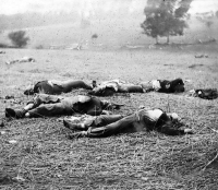 Bodies of Federal soldiers, killed on July 1, near the McPherson woods at Gettysburg, photographed by Timothy O'Sullivan circa July 1863