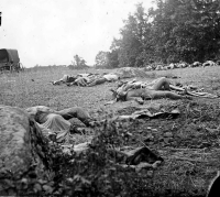 Dead soldiers in the wheat field near Emmittsburg road at Gettysburg, photographed by Alexander Gardner, circa July 1863