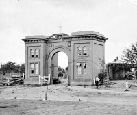 Evergreen Cemetery Gatehouse after the battle of Gettysburg, circa July 1863
