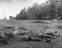 Soldiers killed on July 2 in the wheatfield near Emmittsburg road at Gettysburg, photographed by Alexander Gardner, July 1863