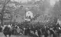 Troops parade at Gettysburg before dedication ceremony for Soldier's National Cemetery on November 19, 1863