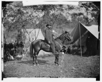 Allan Pinkerton of the Secret Service on horseback in Antietam, photographed by Alexander Gardner, circa Sept 1862