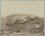 Body of a soldier in wheat field evidently killed by the explosion of a shell at Gettysburg, photographed by James F. Gibson, circa July 1863
