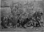 Members of the Perseverance Band pose at Devil's Den in Gettysburg in 1884.