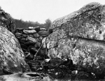 "Battle of Gettbysurg, ""Home of a Rebel Sharpshooter,"" photographed by Alexander Gardner circa July 1863"