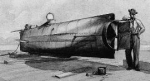 Painting of Civil War submarine, H.S. Hunley, circa 1902