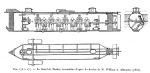 Drawing of Civil War submarine H.S. Hunley