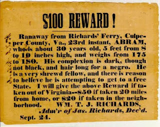 Poster offering a reward for an escaped slave