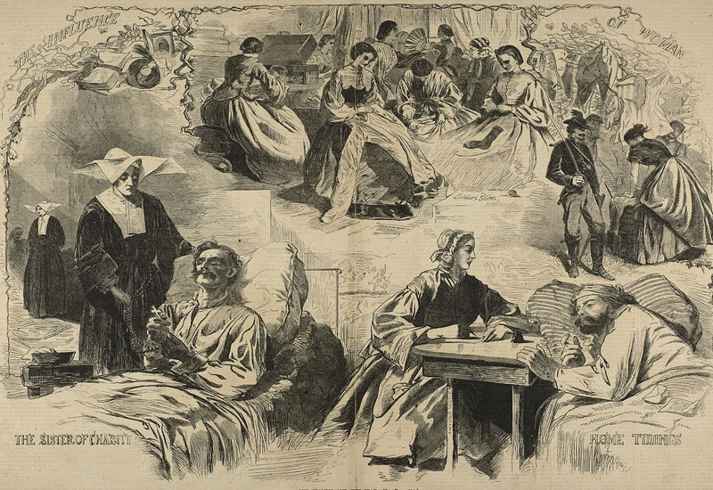 """Our Women in the War"", Wood Engraving on Paper by Winslow Homer, Published in Harper's Weekly in Sept 1864"