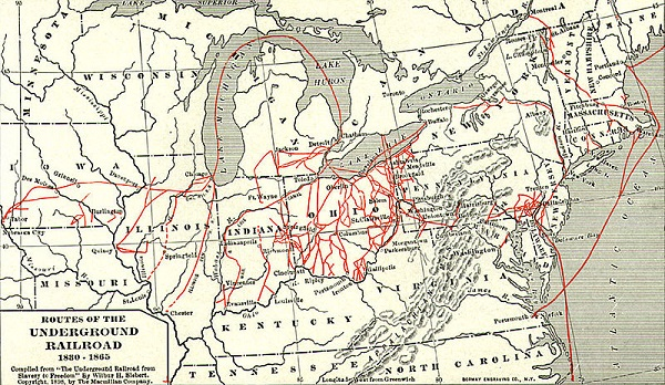 Routes of the Underground Railroad, 1830-1865, illustration published in The Underground Railroad from Slavery to Freedom, circa 1898