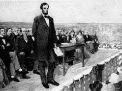 Illustration of Abraham Lincoln giving the Gettysburg Address