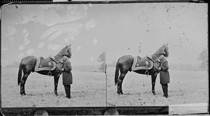 "Ulysses S. Grant and his war horse ""Cincinnati"" on June 4, 1864"